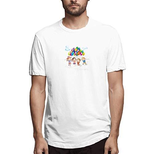 Hemd Zeichnung Clip Art Strand Kinder Spielen mit Luftballons Materi Aaacebef Herren Baumwolle lässig T-Shirt