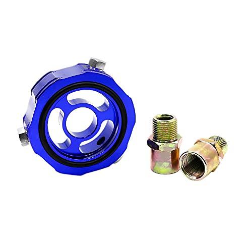 Deesen Coche M20X1.5 3/4-M16 Add Adaptador de Bloque de Aceite Sensor de PresióN de Temperatura de Aceite LíNea Turbo Enfriador de Filtro de Aceite YC100335 Azul
