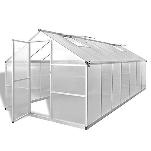 Tidyard Invernadero Caseta,Invernadero de Jardín Policarbonato Transparente,Paneles de Doble Pared,Construcción de Aluminio,10,53m² 421x250x195cm(Marco Base no Incluido)