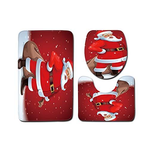 DIAOSUJIA Weihnachtstoilettenset,3Pcs Weihnachten Toilette Sitz Bezug Santa Geschenk Claus Badezimmer Boden Matte Xmas Dekor Badezimmer Santa Toilette Sitz Abdeckung Teppich Home Decoration