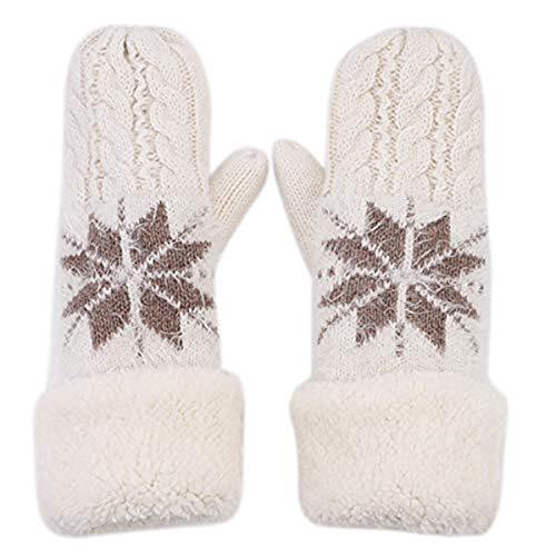 Damen Fausthandschuhe Warme Fäustlinge Handschuhe Winter mit Plüschfutter Damenhandschuhe Gefüttert Strickhandschuhe Schneeflocke Winterhandschuhe Verdickte Weiche Skihandschuhe für Snowboard Fahrrad