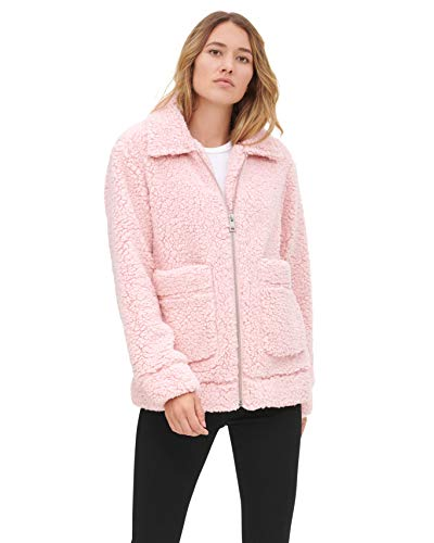 Levi's Women's Soft Sherpa Oversized Bomber Jacket, Baby Pink, Medium