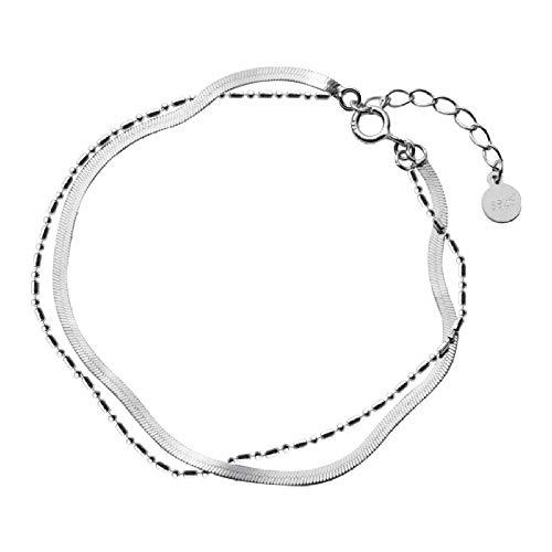 DGFGCS Ladies silver bracelet Sterling Silver 925 Bracelet Women'S Fashion Jewelry Chain Bracelet Birthday Gift For Girls Office Lady