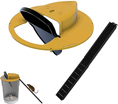 CATIIOR Bucket Lid Mouse Trap Indoor Rat Traps Outdoors House Automatically ResetsDoor Style, Humane Mouse Chipmunk Trap for 5 Gallon Bucket