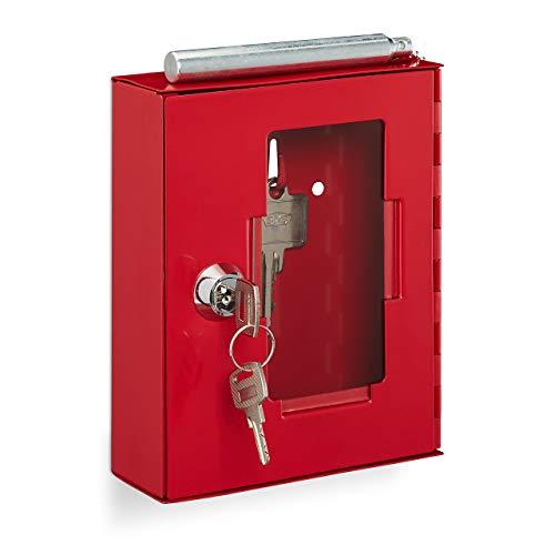 Relaxdays Martillo rompedor de Cristal, se Puede Cerrar, Metal, pequeña Caja para Llaves de Emergencia, Color Rojo, 1 Unidad