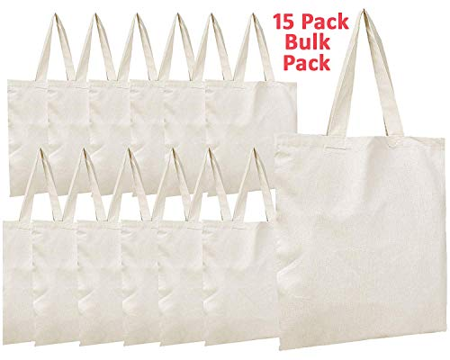Simpli-Magic 79163 Canvas Tote Bags, 11' x 13', Pack of 15, Natural