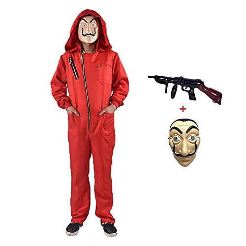 Halloween Mono de Ladrón de Banco para Carnaval,Disfraz de Ladrón Mono Rojo de Manga Larga con Capucha,Conjunto de Cosplay Disfraces Máscara y Ametralladora,Disfraz de Carnival (Adult-L--175-180)