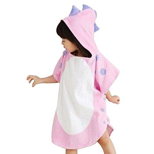 Missley コットン子供恐竜浴タオルフード付きバスローブ暖かい パジャマ (ピンク)