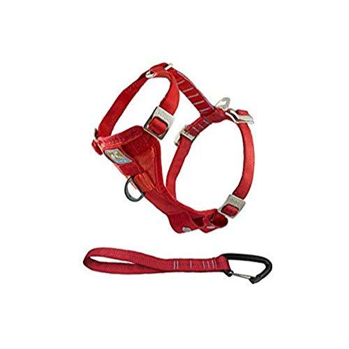 Kurgo Enhanced Tru-Fit Smart Hundegeschirr, Auto Geschirr für Hunde, vorderer D-Ring für Anti-Zug Training, inkl. Sicherheitsgurt für Hunde, Größe: L (groß) – rot