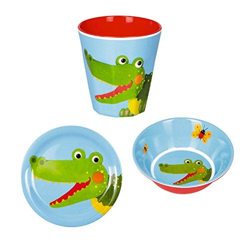 Lote de 3 Piezas de Vajilla Infantil de Melamina Cocodrilo Vaso + Plato + Cuenco Cereales