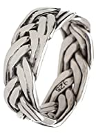 新宿銀の蔵 ダブル 編み込み シルバー 925 リング 8.5~30.5号 (17.5号) 指輪 幅広 メンズ 太め 広め 大きいサイズ 鏡面 プレーン シンプル
