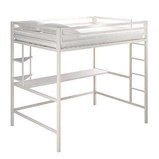 Novogratz 4371129N Maxwell Metal Full Loft Desk & Shelves, White Bunk Beds, (B07TNWGVNS)   Amazon price tracker / tracking, Amazon price history charts, Amazon price watches, Amazon price drop alerts