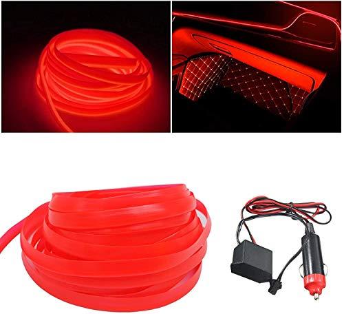 El kit de alambre del alambre Luces de coche Luces LED con interior frío Decoración del coche Atmósfera Tubos de neón redondos DC 12V Inversor de 360 grados Iluminación (Red, 5M/16FT)
