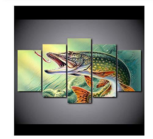 NIUYHFU Wohnkultur Leinwand Gemälde 5 Stücke Angeln Süchtig Fisch Wohnzimmer Hecht Markante Poster Rahmen