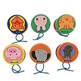 NUOBESTY 6 Piezas de Castanetas de Madera para Niños Juguete con Patrón de Animales Instrumentos Musicales de Percusión Juguete Educativo Temprano para Bebés Pequeños