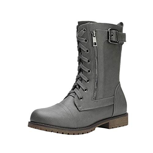 DREAM PAIRS Women's New Mission Grey Combat Mid Calf Boots Size 9.5 B(M) US