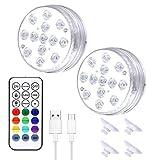 chongwu Luz LED Subacuática Impermeable, Luz LED Recargable por USB con Control Remoto, Lámpara De Piscina con 3 Modos Dinámicos, Ajuste De Brillo, Adecuada para Acuarios, Jarrones, Tanques De Peces
