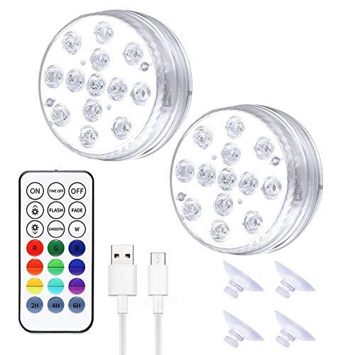 Horypt Unterwasser Licht,Wiederaufladbare magnetische USB LED Unterwasserlicht, IP68 LED Pool Lichter RF-Fernbedienung RGBW Bunte mit 13 LEDs, Schwimmbadlampe für Whirlpool Teich Poolbrunnen