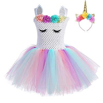FONLAM Vestido de Bautizo Fiesta Niña Disfraz de Unicornio Princesa Tutú Vestido Infantil Flores Carnaval Niña (L 5-6 Años, Blanco y Rosa)