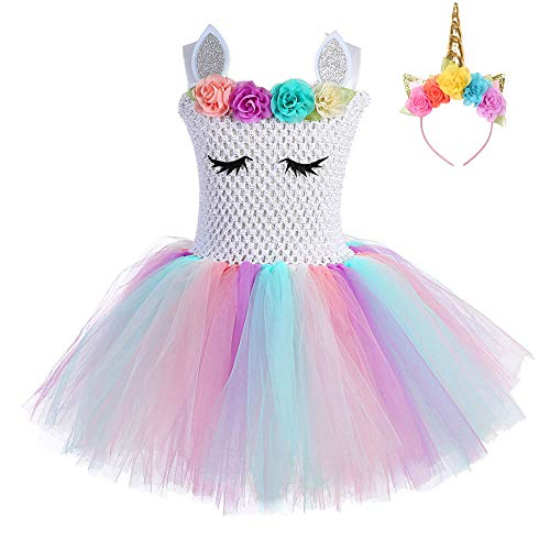 FONLAM Vestido de Bautizo Fiesta Niña Disfraz de Unicornio Princesa Tutú Vestido Infantil Flores Carnaval Niña (3XL 11-12 Años, Blanco y Rosa)