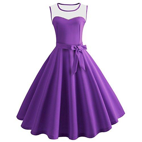 TEBAISE Sommerkleid Damen 1950er Ärmellos Cocktailkleid Jahrgang Kleider Vintage Retro Spitzenkleid...