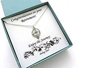 Retirement Gifts for Women | Sterling Silver Compass Necklace | Victorian Compass