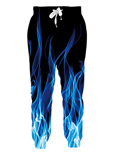 chicolife Herren Jungen 3D Jogger Blue Flame Jogginghose Coole Grafik Lange Hose Slim Fit Workout Athletic Pants Lässige Trainingshose mit Taschen XL
