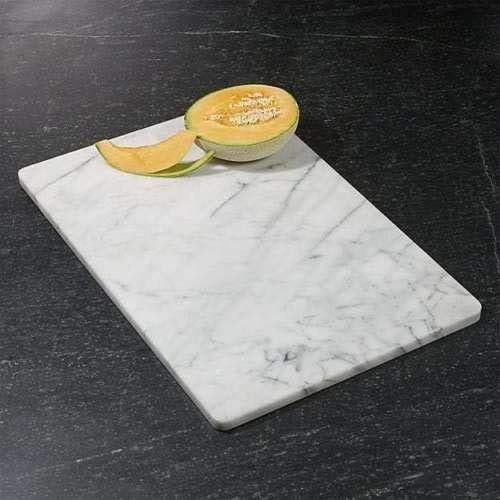 KC KULLICRAFT Home Basics Multi-Purpose Pastry Marble Cutting Board Slab with Non-Slip Feet for Stability & Scratch Protection for Countertop.Easy to Clean,Trivet,White (8x12)