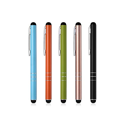 Eingabestift POWERADD Touchstift, 5 Stück Stylus Pen Touchscreen Stift für iPhone iPad Air Pro Samsung Galaxy Huawei Tablets und Alle Smartphone, Farbe:Schwarz, Gold, Grün, Orange, Blau