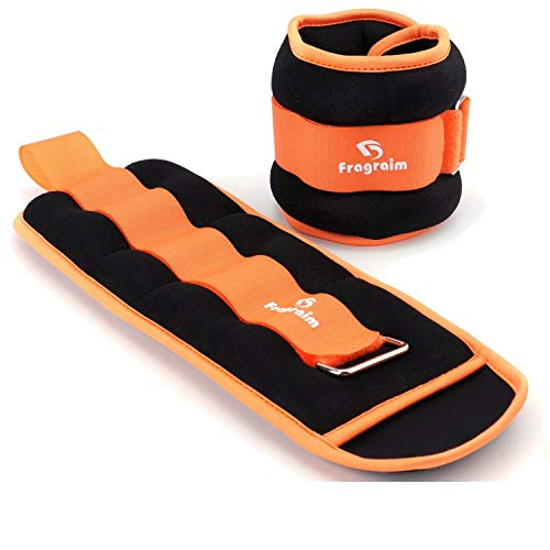 Fragraim Ankle Weights for Women, Men and Kids - Strength Training Wrist/Leg/Arm Weight Set with Adjustable Strap for Jogging, Gymnastics, Aerobics, Physical Therapy (Orange - 6 lbs Pair)