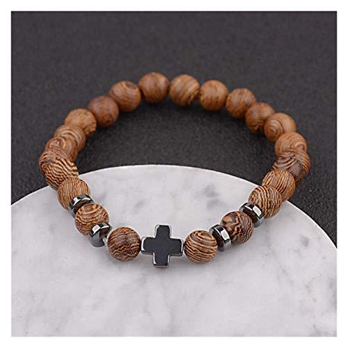 ZNYD La oración Unisex Hombres Mujeres Yoga 108 Cuentas de Madera de sándalo Buda Budista Natural Pulsera de Cuentas de Lotus Rosario Collar de la Pulsera (Color : Cross 2)