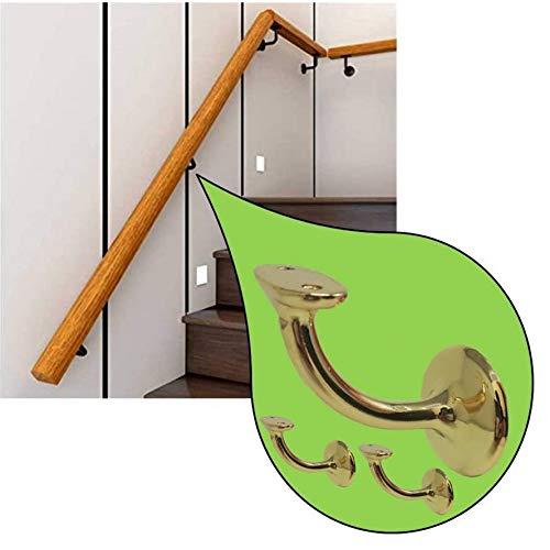 Parpyon® 3 Supporti corrimano scale Staffe in zama per corrimano legno completi di viti tassello, fissaggio a parete VARI COLORI prodotto italiano sostegno (ORO LUC.)