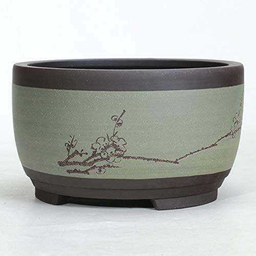 Thwarm Flowerpot Ceramic Round Large Medium and Small Bonsai Plant Pot Flower-Pots Planter Bonsai Ceramic Home-Decoration Chinese for DIY-Crafts Drum-Shaped Chinese Style Ventilation Basin