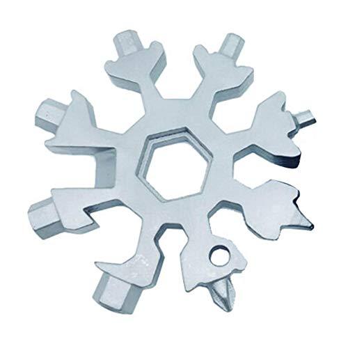 18-in-1 Edelstahl Multi-Tool, Snowboard Multi-Tool, Schraubendreher Werkzeug Dosenöffner Anti-verlorene Werkzeug Schlüsselanhänger Incredible Tool für militärische Enthusiasten und (Silber)