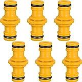 6 pezzi doppio maschio connettore tubo extender per unisciti a giardino tubo flessibile (giallo)