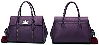 Classic genuine leather tote bag fashion embossed elegant handbag women shoulder bag NB189 purple