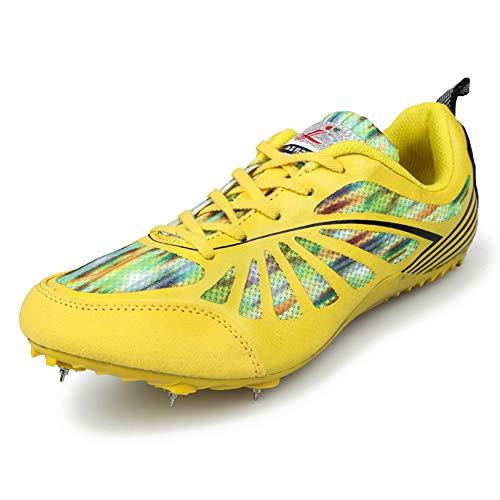 Charmstep Männer Frauen Spikes Leichtathletik Rennen Rennen 6 Spikes Schuhe Track and Field Sneaker Gummikette für Jungen Mädchen,Gelb,37EU
