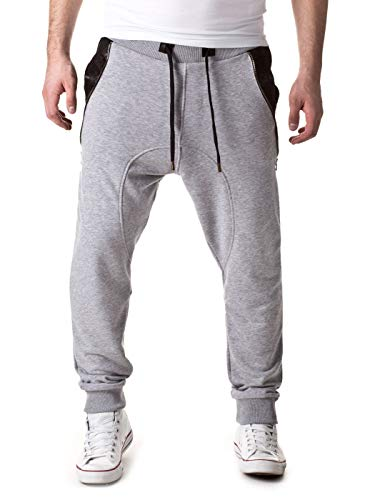 Young & Rich Herren Jogging/Trainingshose Jogger Star H/M 2014 MOD 12448 D.G, Grau, XL, Grau, XL