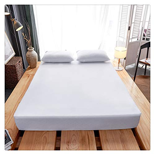 Yousiju Six-sided Fully Enclosed Waterproof Bed Cover Mattress Protector Mattress Topper for Bed Mattress Cover Zipper (Color : White, Size : 180x200x15cm)
