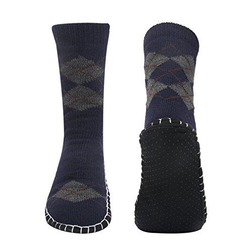 Vihir Hombres Calcetines antideslizantes para el hogar, Argyle Azul