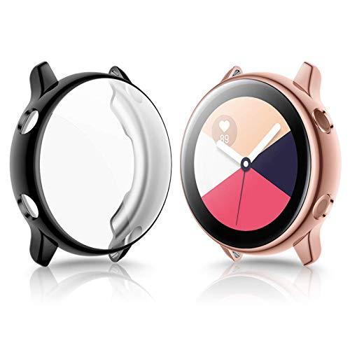 KIMILAR Schutzfolie Kompatibel mit Samsung Galaxy Active Schutzhülle 40mm (Kann mit Hülle Aufladen),Vollständige Abdeckung Weiche TPU Silikon Cover Hülle für Galaxy Watch Active -rosegold+ black