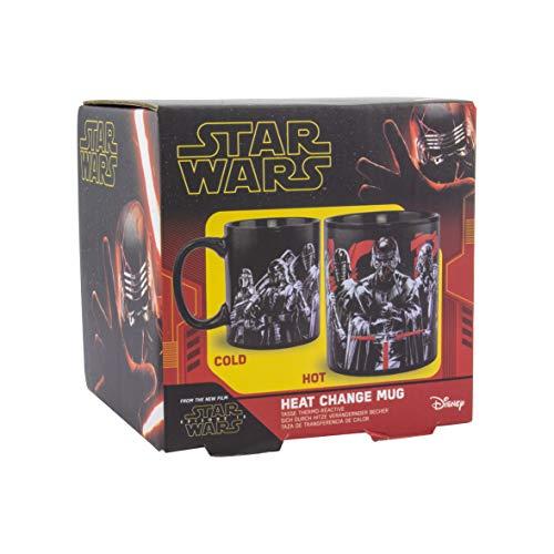 Paladone Episodio 9 Taza de calor con licencia oficial de Star Wars coleccionable, color y diseño caliente, taza de té de café, cerámica, negro, 300 ml