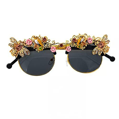 BAJIE Gafas de Sol Hechas a Mano barrocas con Diamantes de imitación Flor Abeja Gafas de Sol para Mujer Gafas de Cristal para Fiesta