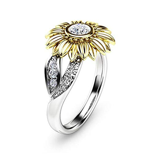 Womens Cubic Zirconia Engagement Rings Sunflower CZ Band Women Fashion Jewelry Size 9 White Gold