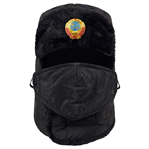 Chapeaux de bombardier Ushanka d'hiver, logotipo soviétique cache-oreilles chauds coupe-vent, chapeaux rembourrés coupe-vent, plus trappeur d'aviateur en velours homme femme hommes femmes casquette