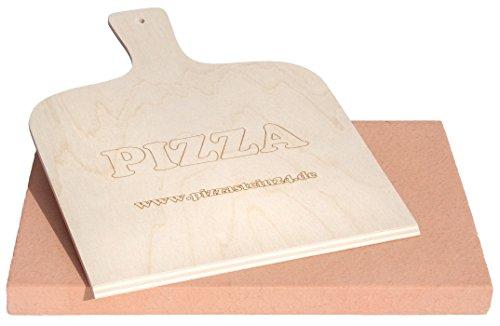PIZZASTEIN/BROTBACKSTEIN Set, extra Dicker Schamottestein eckig 40x30x3cm mit Pizzaschaufel - für Backofen und Grill - wie aus dem Pizzaofen