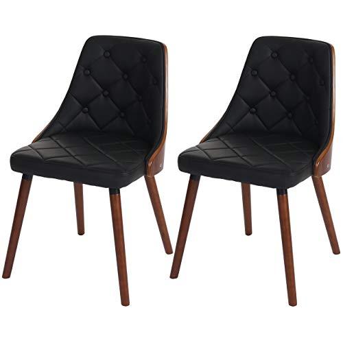 2x silla de comedor Osijek, silla, Aspect Nuez, Madera Cintré ~ piel sintética, negro