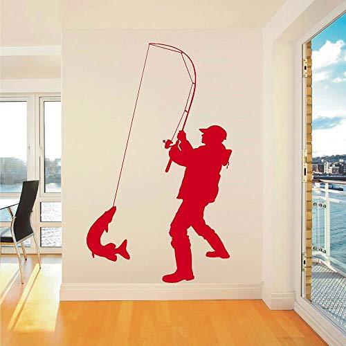 Estilo pescador pegatinas de pared vinilo sala de estar decoraciones de pared oficina de pesca interior ventana puerta arte calcomanías