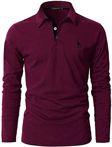 GNRSPTY Polo Manga Larga Hombre Algodon Slim Fit Camiseta Colores de Contraste Bordado de Ciervo Deporte Basic Golf Negocios T-Shirt Top