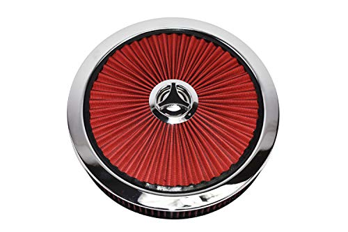 """A-Team Performance High Flow Replacement Air Cleaner Assembly w/Flow-Thru Lid Washable and Reusable Round Air Filter Element Kit Includes Star Wing Nut Compatible with Chevrolet GMC Ford 14""""x3"""" Red"""